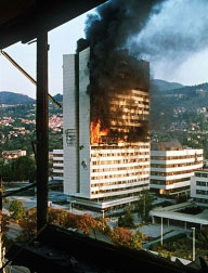 Degantis parlamento pastatas, Sarajevas